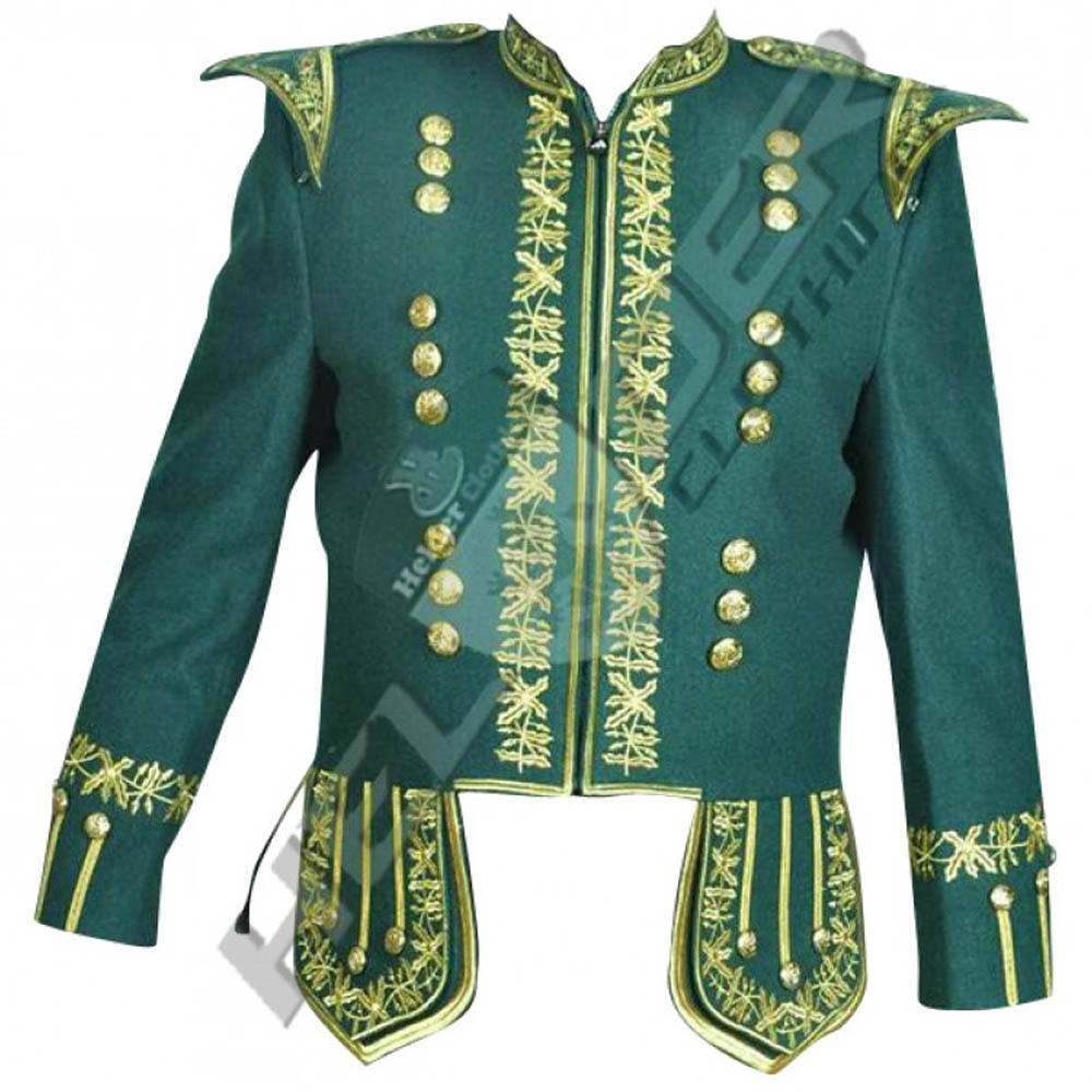 men highlander scottish green sheriffmuir jacket & waistcoat vest with thistle chrome buttons