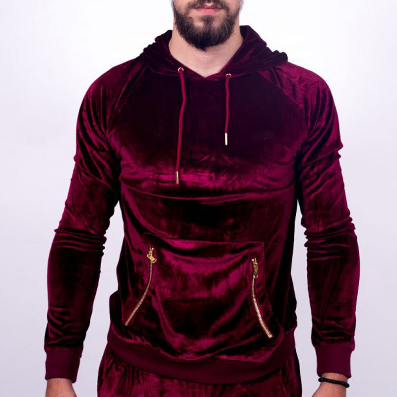 Fashion Custom High Quality Velvet Velour Tracksuits Men/Sports wear tracksuits