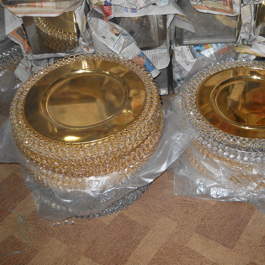 Shiny gold crystal and metal charger plate