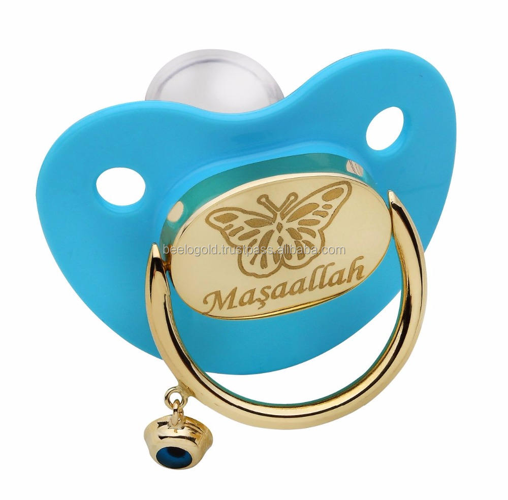 14K Solid Gold Baby Pacifier New Born Baby Gift Evil eye Protection Pacifier