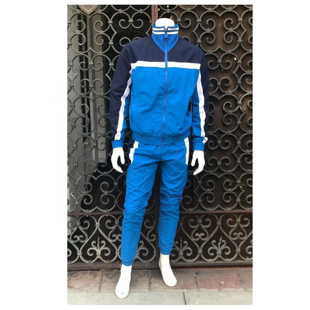 Navy blue Color Tracksuits 100% polyester cotton men training suits OEM jogging running sports suits wholesale custom logo set