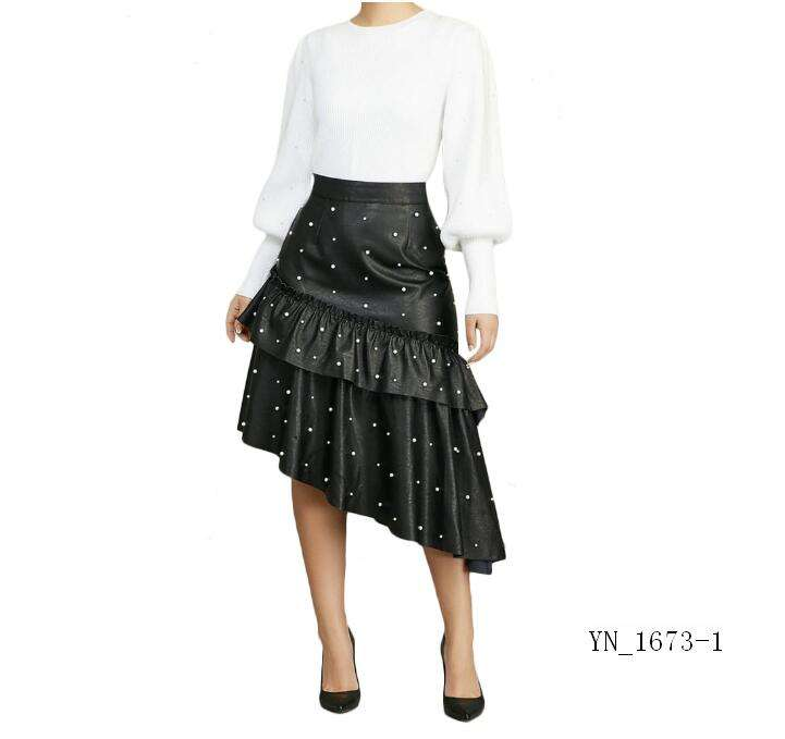 New arrival lady one piece skirt Black leather Irregular Bead Skirt