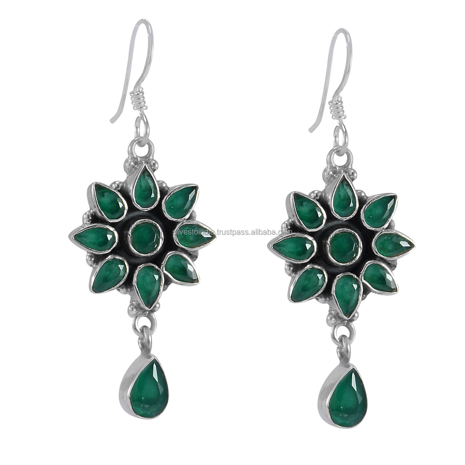 Handmade Jewelry Manufacturer Green Onyx 925 Sterling Silver Jaipur Rajasthan India Dangle new earring