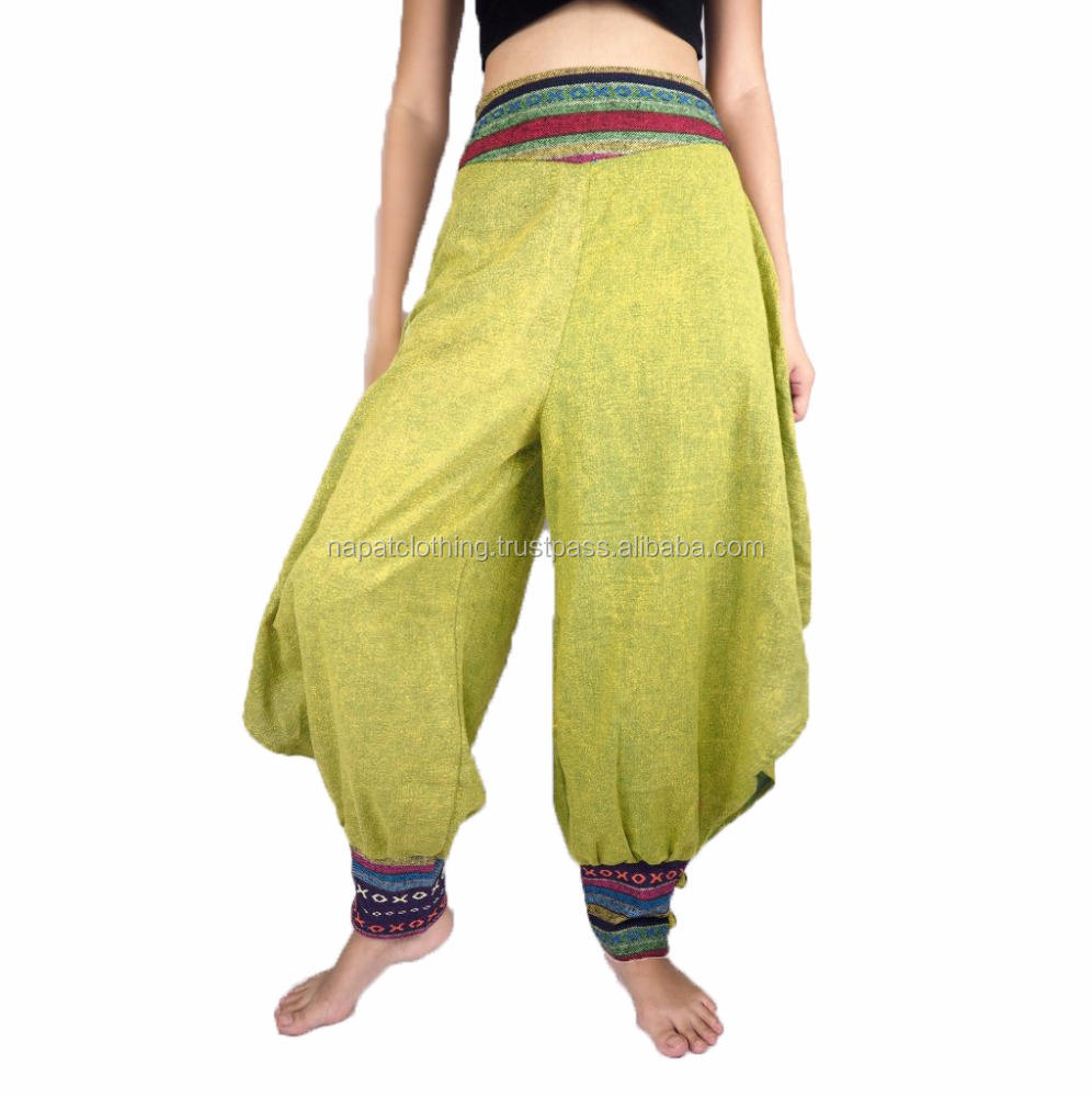 NAPAT Woman Pants Harem Style Woven High Waist Washed Cotton Bottom Jump