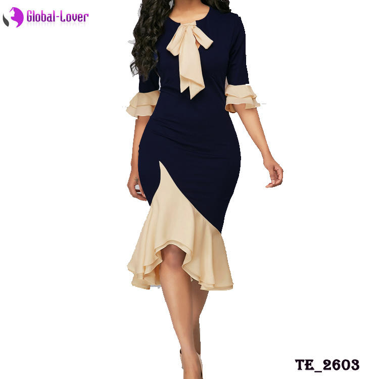 Ladies Half Sleeve Elegant Official Dress Professional Women Career Dresses