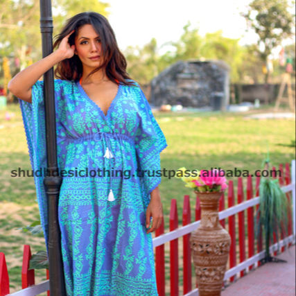 Designer blue color ladies cotton kaftans