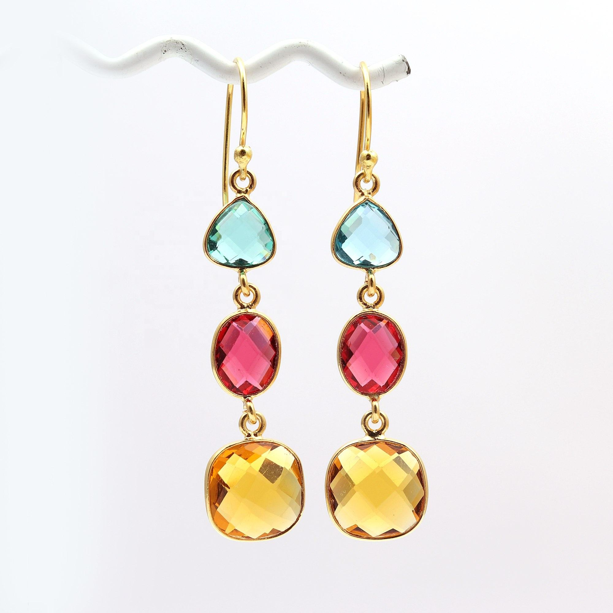 Apatite, Citrine Gemstone Hook Earring Gold Plated Trillion/Oval/Cushion Shape Earrings jewelry