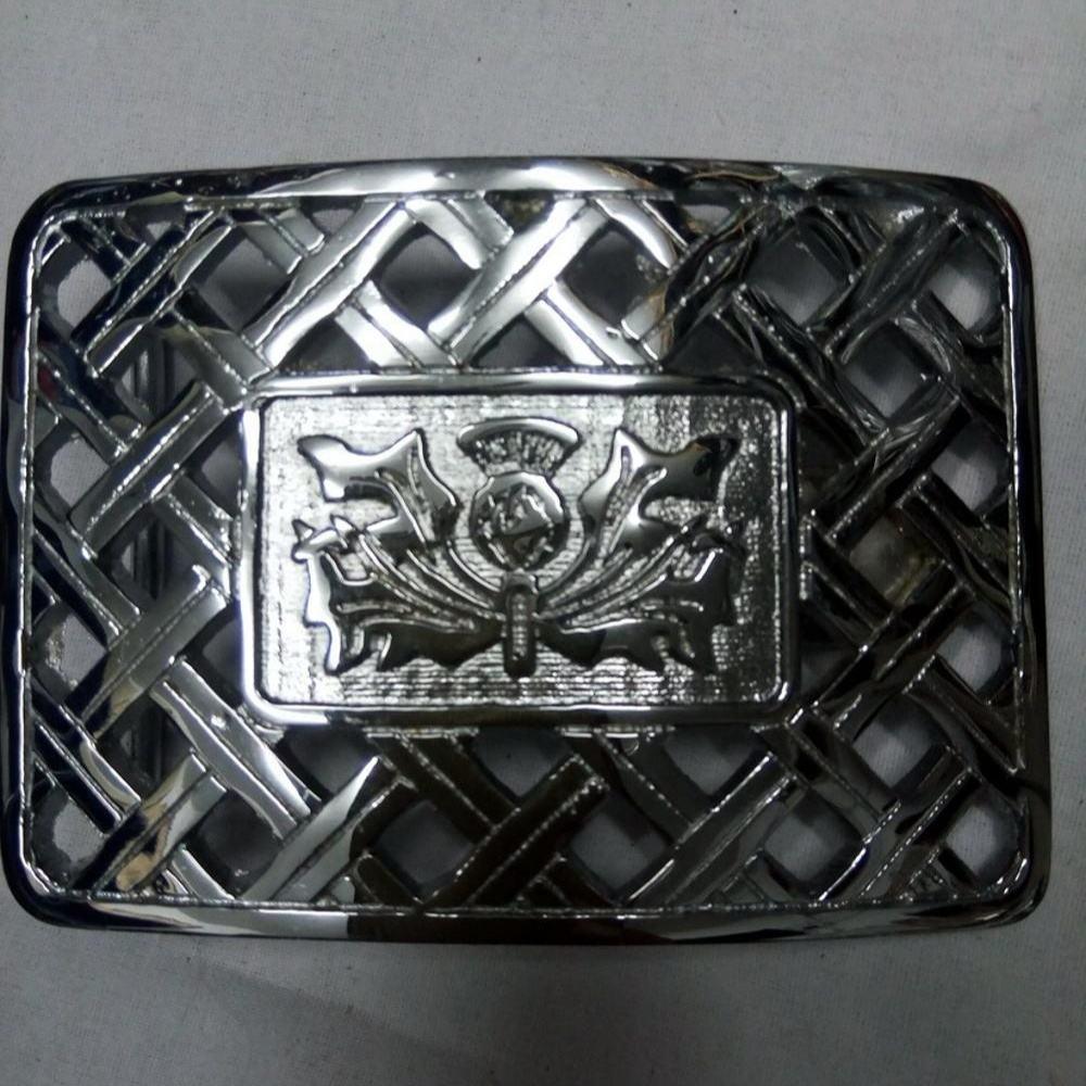 Stunning Scottish Celtic Thistle Kilt Belt Buckle Polished Chrome