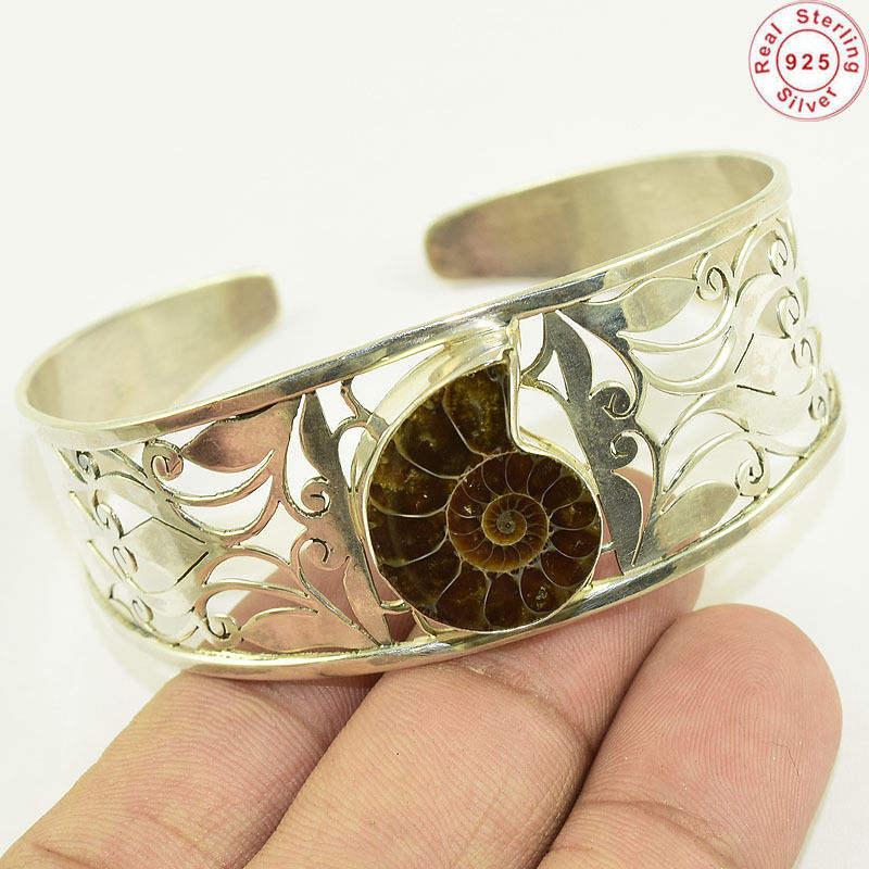 Mais recente fóssil da amonite pedra preciosa pulseira atacado 925 prata esterlina jóias pulseira