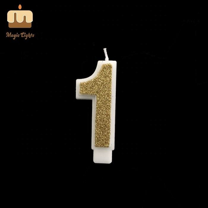 1 Gold Glitter Number One Birthday Cake Candle Australia