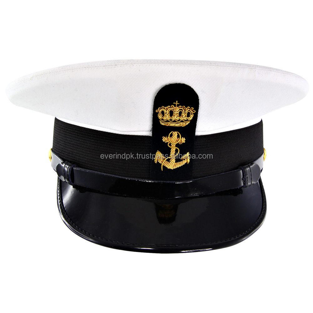 Navy Officer Captain Hat Embroidered Anchor Badge Peaked Cap