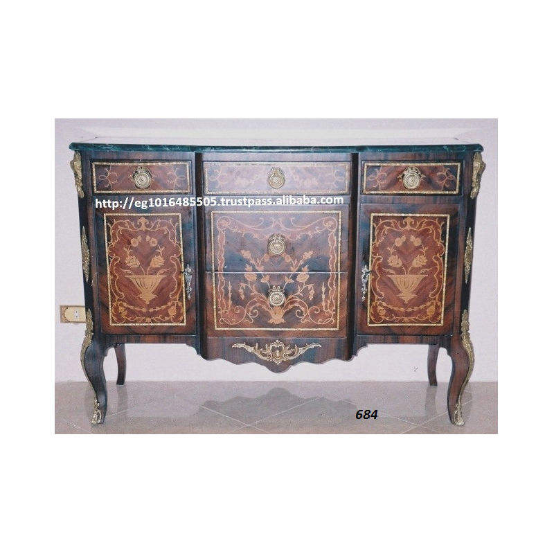 antique Side Board Cabinet 3 drawers , covered with veneer , marquetry