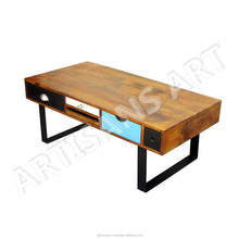 Vintage Solid Wood Retro Multi Drawer Coffee Table , Indian Furniture Exporters, Home Decor Furniture