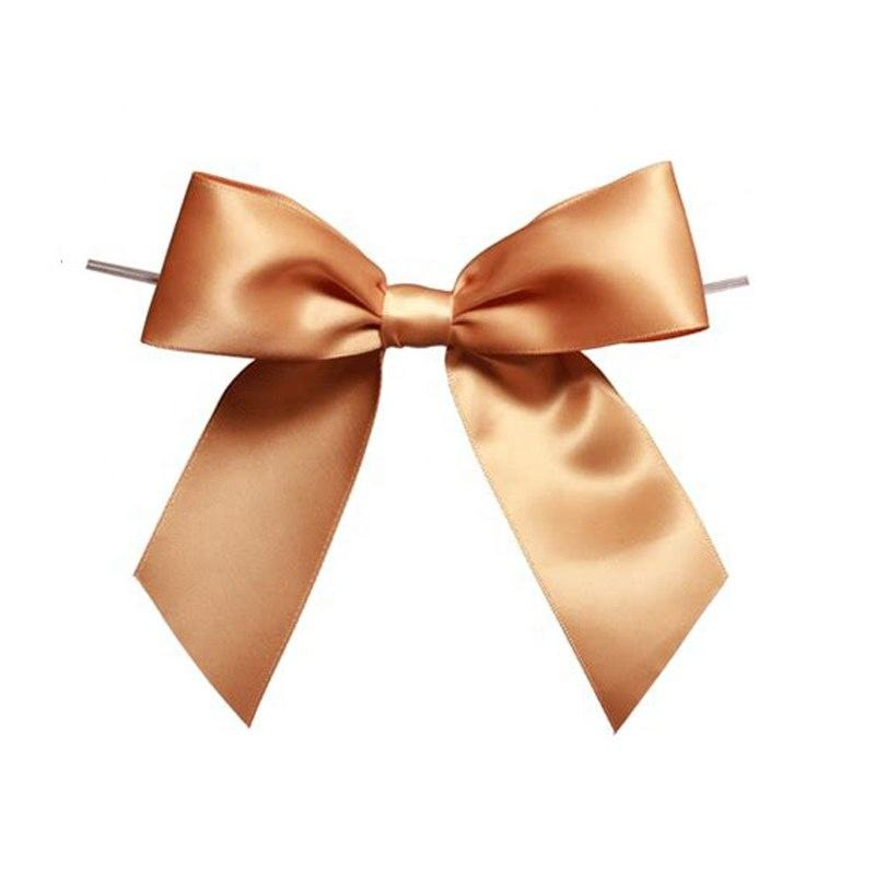 Wholesale Custom pretied ribbon bows with twist tie, pretied ribbon bows