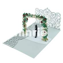 Wedding invitation card couple under the flower arrch 3d popup card, Anniversary card