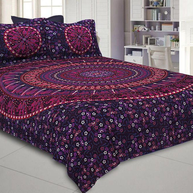 Indian Mandala Bohemian Tapestry Bedcover With Pillow Covers Cotton Fabric Bedspread Hippie Fitted Bedsheet