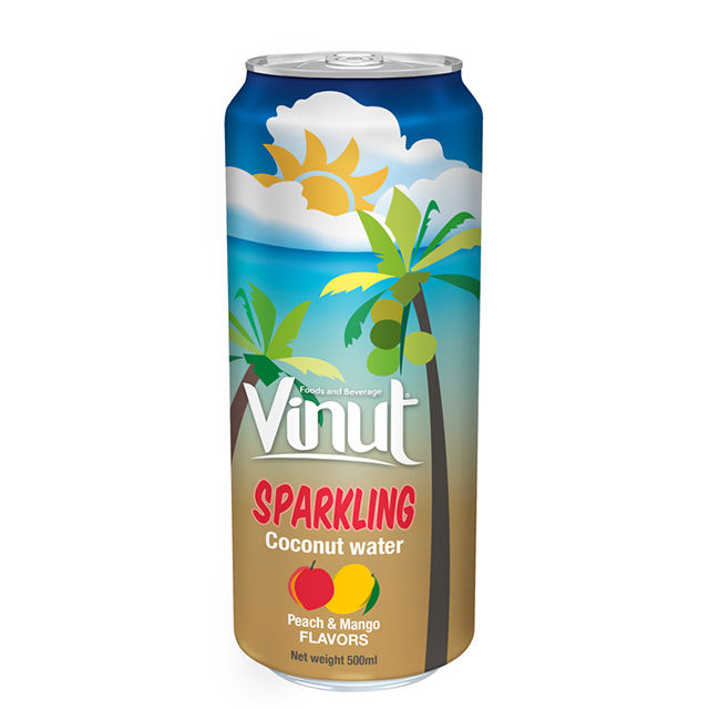 Sparkling Coconut water with Peach and Mango flavour