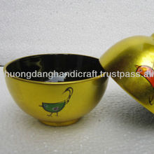 Rice lacquer bowl shiny metallic gold color with chicken designs