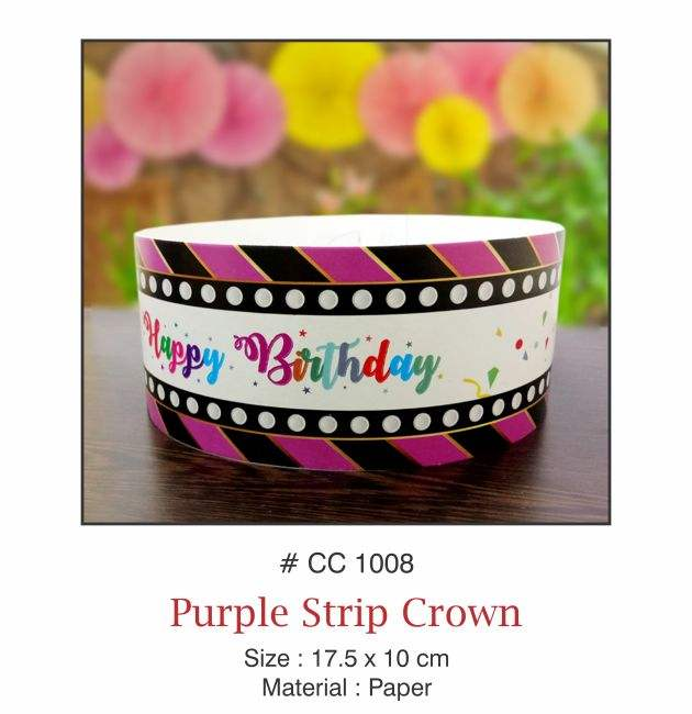PURPLE STRIP BIRTHDAY CROWN HAT PAPER FUNNY PARTY CROWN FOR KIDS PARTY ACCESSORIES HAPPY BIRTHDAY CAPS AND CROWN