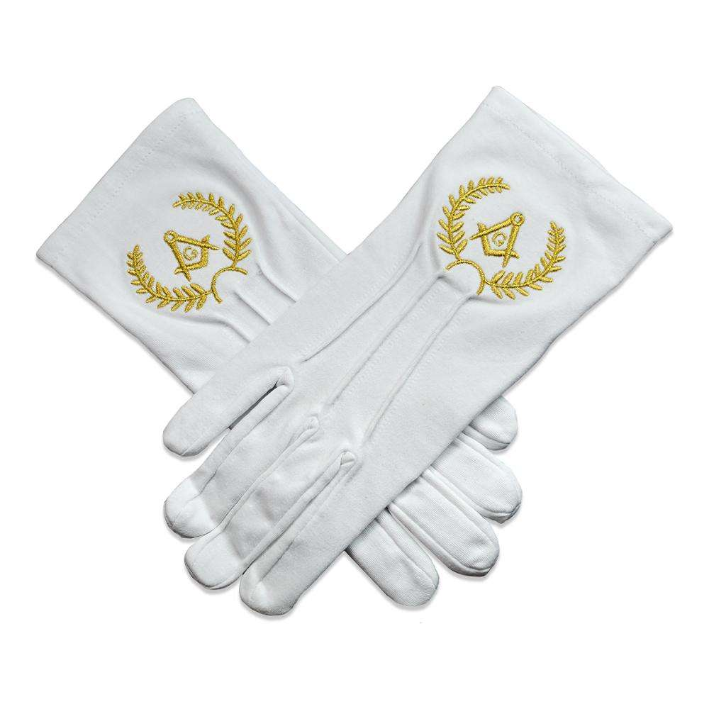 White 100/% Soft Leather Masonic Gloves with Sq /& Compass G