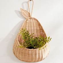 Pear-shaped rattan hanging planter basket