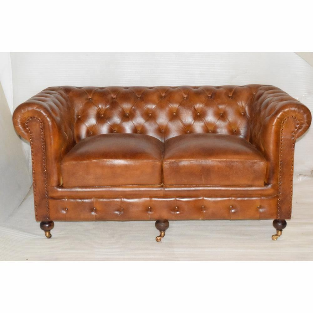 Antique chesterfield 3 seater pure leather vintage customized sofa