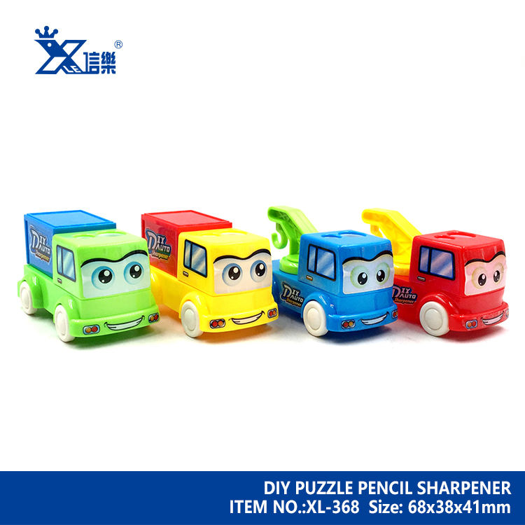 Cartoon Novelty Truck Crane Shaped DIY Assembly Pencil Sharpener Best Gift For Kids 2 Holes ABS  Ps Carbon Steel Blade Standard