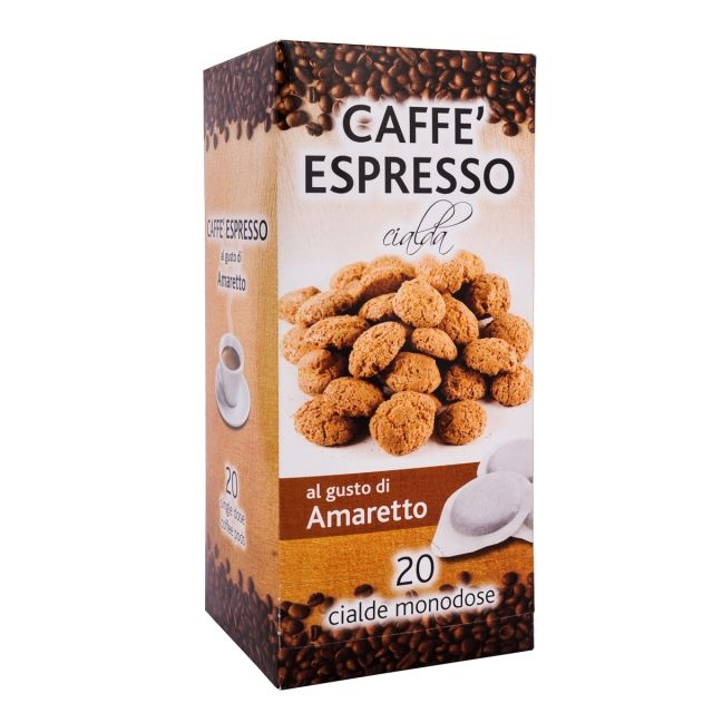 ITALIAN FLAVOR COFFEE PODS- 20 PODS BOX AMARETTO - GROUND COFFEE PODS