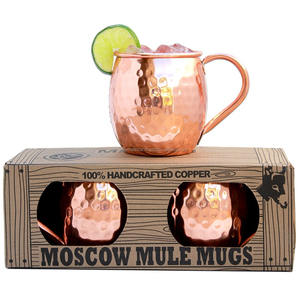 High Quality Beer Cup moscow mule copper mugs box gift set of 4 Drinking hammered Mug