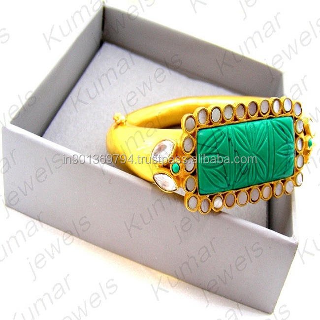 Green Turquoise Carved Stone White Kundan Beaded Gold Plated Matt Finished Openable Girlish Mughal Style Bracelet