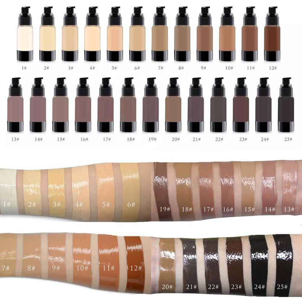 FULL COVERAGE 25 shades vegan makeup private label liquid foundation for white or dark skin