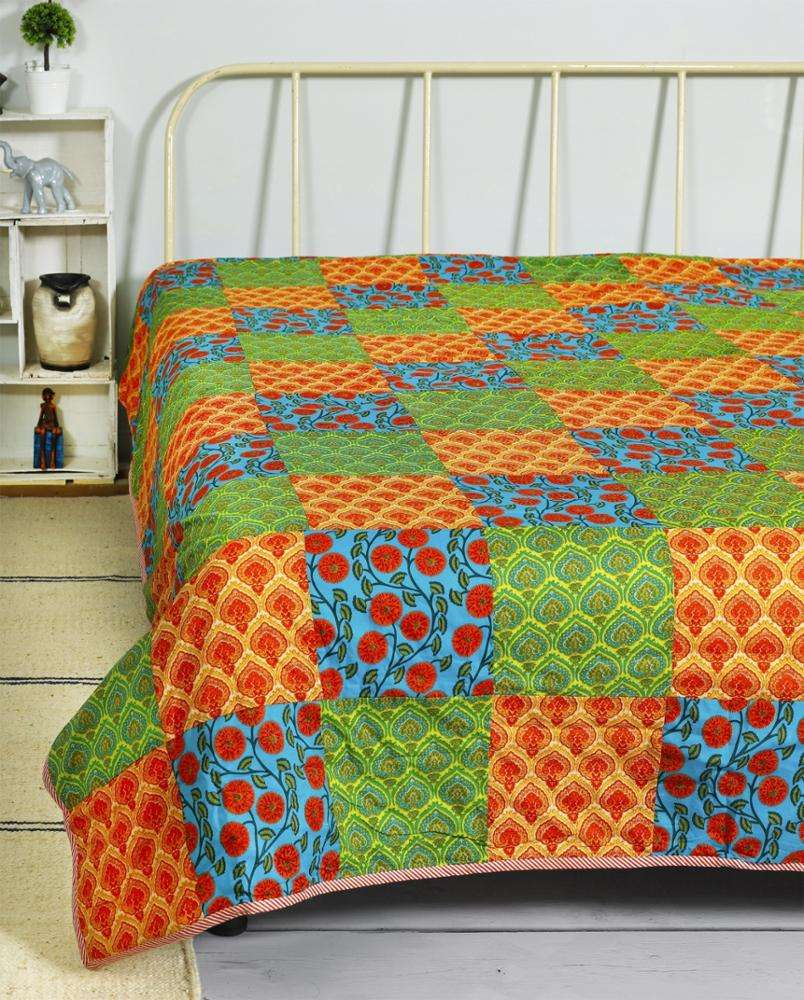 Multi color patchwork jaipuri patchwork traditional sanganeri print double bed quilt crafted blanket dohar