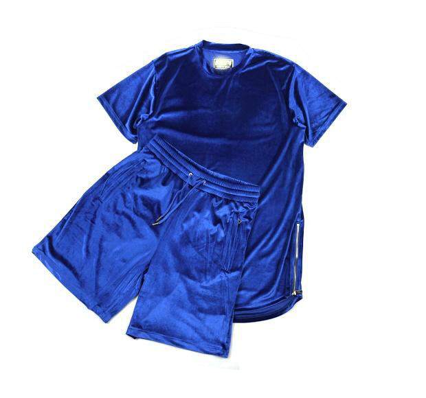 OEM Custom Top Quality men velvet shirt&short/Wholesale short sleeves warm winters velvet tracksuit men