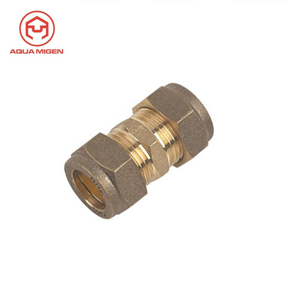 In Stock 15mm Equal Compression Straight Brass Coupler