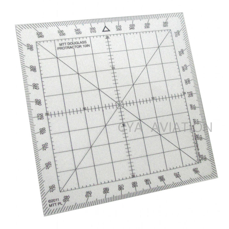 Douglas Protractor 10 IN Plastic Square Map Marking Protractor