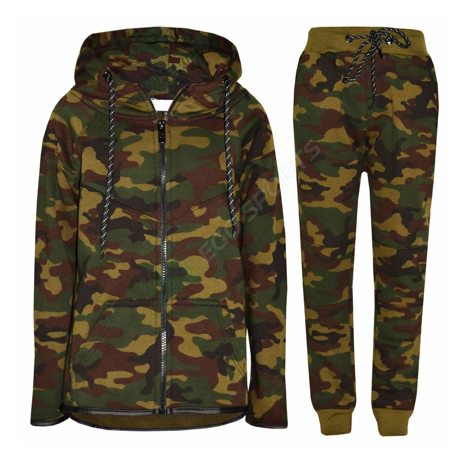 Top Quality Kids Contrast Camouflage Print Tracksuit Sweat Top & Jogging Track Bottoms Set