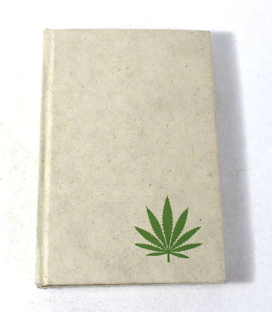 Recycled handmade paper cream color hemp leaf printed corner cover notebook