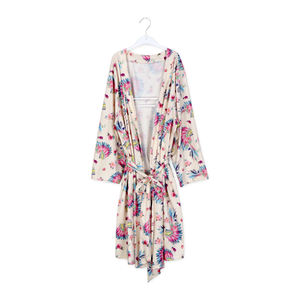 Aqua Floral Women Long Sleeves Bridal Robe Floral Kimono Robe for Wedding Party