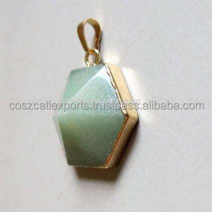 Wholesale Natural Green Aventurine Gems Stone Hexagonal Necklaces Pendant Jewelry