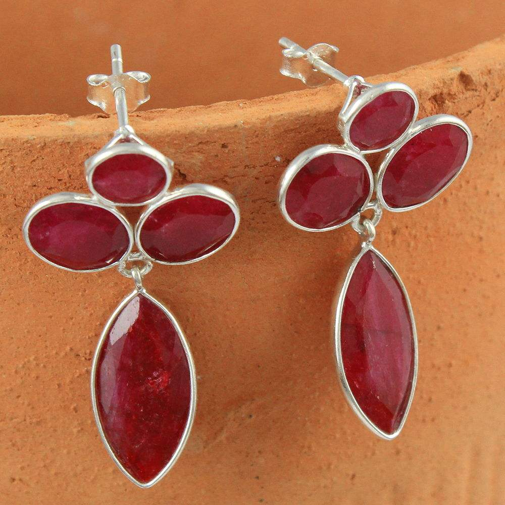 탐나는데 꽃 ruby gemstone earring 925 sterling silver earring 도매 온라인 silver jewelry