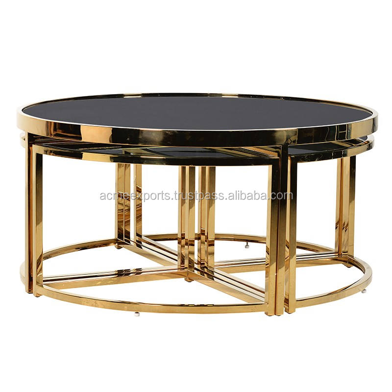 Stainless Steel Top Black Mirror coffee table modern Gold plated