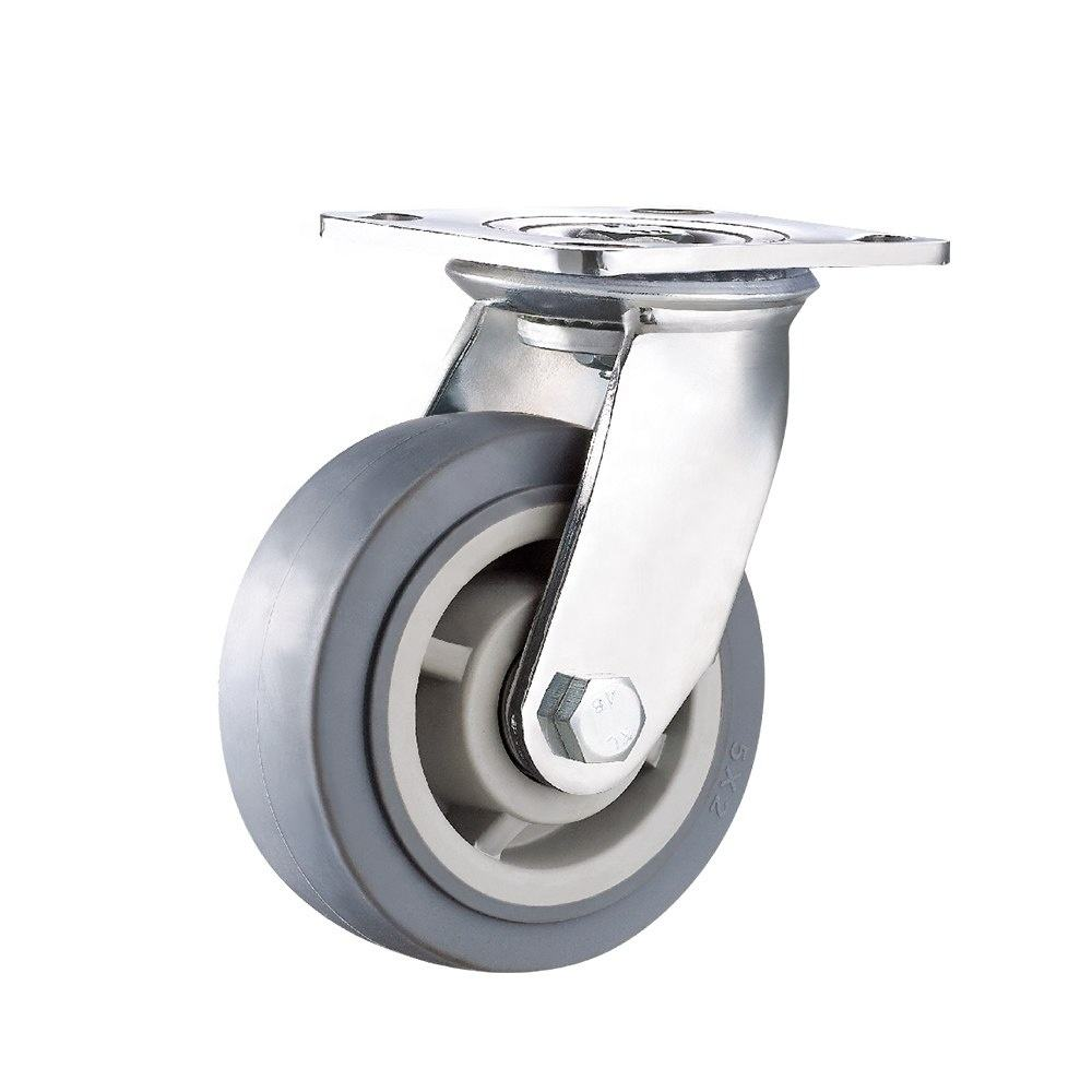 Industrial Swivel TPR Double Ball Bearings Thermoplastic Rubber Heavy Duty Caster Wheels