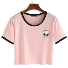 summer alien Print crop top t shirt Women tops  short Sleeve White Pink Cotton tee shirt femme poleras mujer