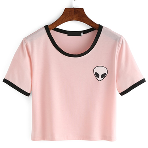 여름 외국인 Print crop top t shirt Women 탑 short Sleeve White Pink 면 티 shirt femme poleras mujer