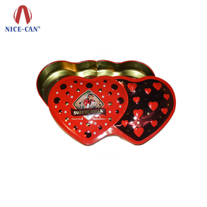 Fancy Luxury Empty Heart Shaped Customized Metal Chocolate Packing Tin Box