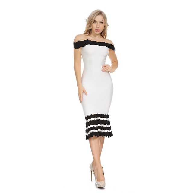 L1610 2019 Brand New arrival mid sleeve bodycon formal dresses white 90% rayon women midi bandage dresses