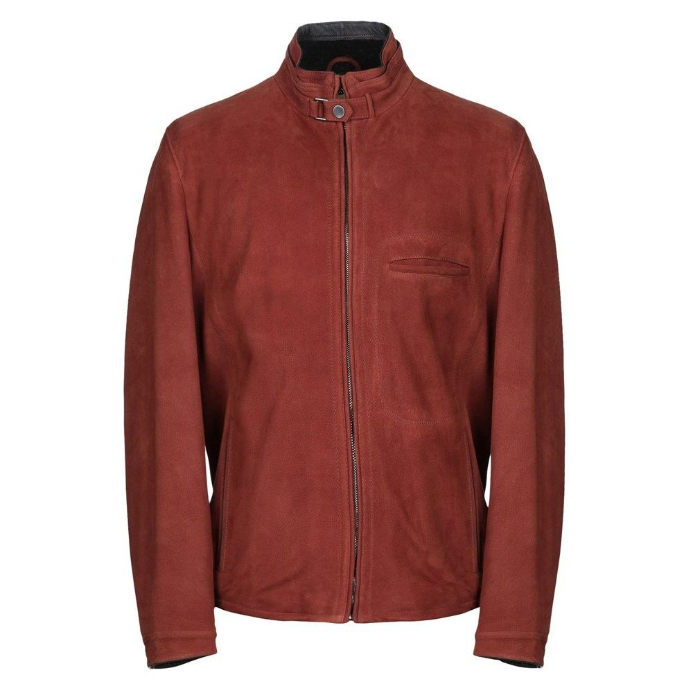 Ultimate red suede fashionable cowhide leather jacket for men's all season wear inner polyester lining smooth zipper jackets