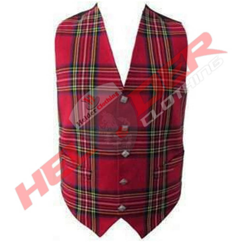 new casual scottish royal stewart tartan waistcoat with front 5 Buttons in chrome for men