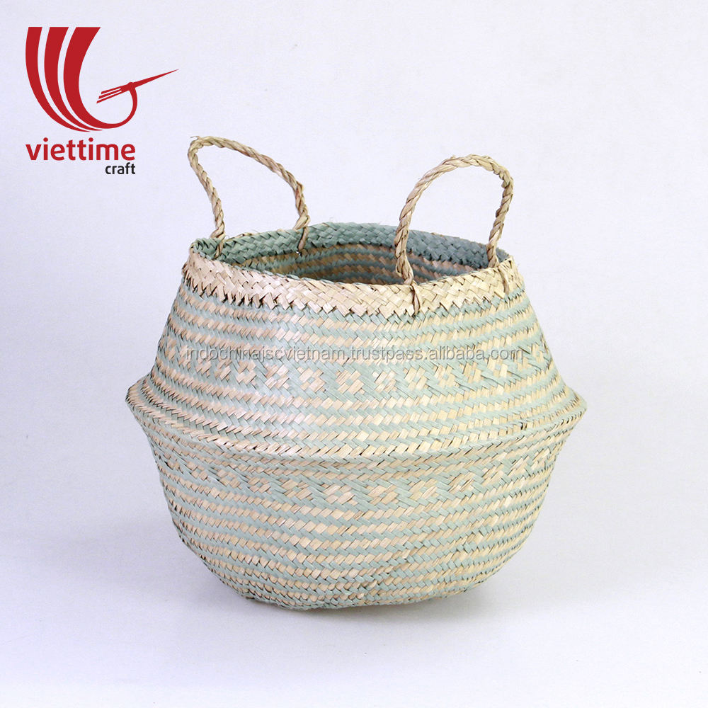 Woven storage basket for plants made from natural seagrass wholesale