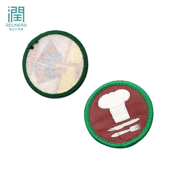 Woven patches manufacturer custom fabric school logo round woven embroidered patch for jacket